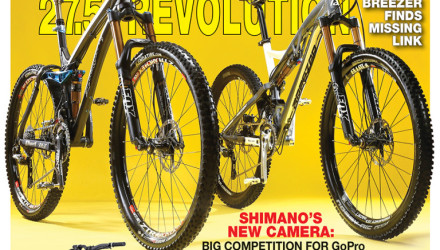 "On the Cover: The Ellsworth Epiphany, Breezer Repack Team and Trek Fuel EX stand triumphant for John ""I told you this 27.5er thing would catch on"" Ker's lens. The new Specialized Demo 8 carbon lurks in the lower left as Aaron Gwin's secret weapon for the 2015 race season."