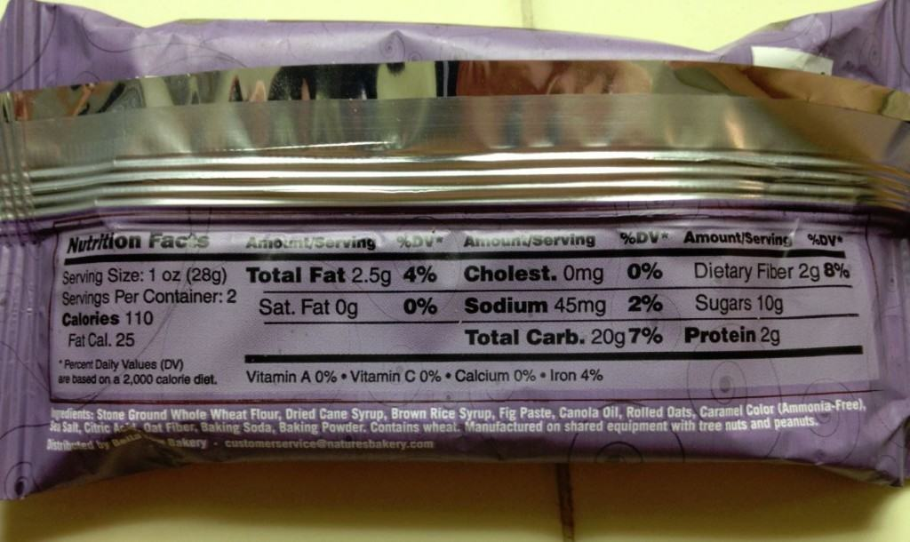 Nature S Bakery Strawberry Fig Bar Nutrition Facts