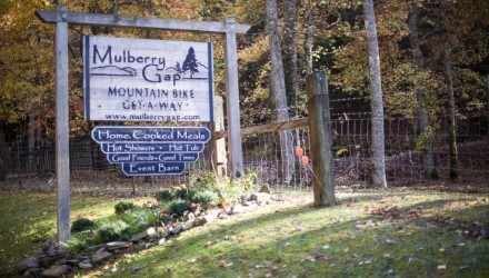Mulberry Gap front sign image Photo cred Mulberry Gap Mountain Bike Get-A-Way