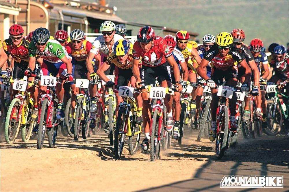 10ece8961cfa6 That s future Tour de France winner Cadel Evans of Australia (74) battling  mountain biking s 1996 Olympic gold medalist Bart Brentjens (160) for the  lead ...
